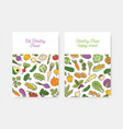 set posters with fresh organic vegetables vector image vector image
