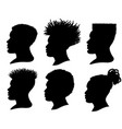 silhouette african american men profile portrait vector image