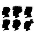 silhouette african american men profile portrait vector image vector image