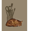 sleeping striped cat and a bowl with stationery vector image vector image