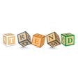 Word TREND written with alphabet blocks vector image vector image