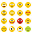 yellow smile emoji set isolated on white vector image