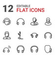 12 headset icons vector image vector image