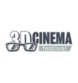 3d cinema festival monochrome banner movies fest vector image
