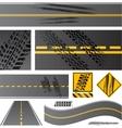 Asphalt road with tire tracks