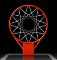 Basketball hoop on black vector image