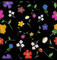 black floral seamless vector image