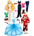 Blond Girl Princess Dress Up vector image