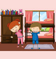 boy and girl exercise in bedroom vector image vector image