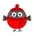 bullfinch winter red feather bird in hat and vector image vector image