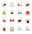 canada travel icons set in flat style vector image vector image