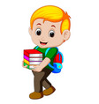 cartoon boy holding a pile of books with backpack vector image vector image