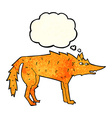 cartoon fox with thought bubble vector image vector image