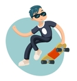 Cartoon Hipster Geek Scater Jump Skateboard Summer vector image vector image