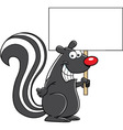 Cartoon skunk holding a sign vector image