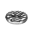 chocolate donut hand drawn bakery product vector image vector image