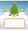 Christmas template with snowman and Christmas tree vector image