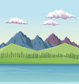 colorful background with daytime mountain valley vector image vector image