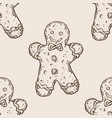 cookie man seamless pattern engraving vector image vector image