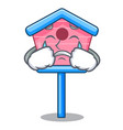 crying wooden bird house on a pole cartoon vector image