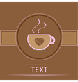 Cup and coffee beans heart Card Pink text vector image