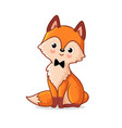 cute fox sits on a white background vector image