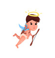 cute little angel boy shooting a bow cartoon vector image
