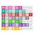 days week printable teaching aid vector image