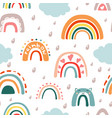 doodle rainbow with rain seamless pattern vector image vector image