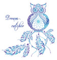 dream catcher owl blue background vector image vector image