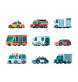 flat cars city traffic municipal vehicle fire vector image