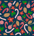 flat cartoon new year seamless pattern vector image vector image