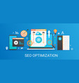 flat modern concept seo optimization and vector image