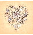 floral doodle heart of flowers leaves vector image vector image