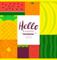 fruit poster collection summer fruit flat vector image vector image