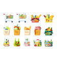 grocery baskets and shopping bags set plastic and vector image vector image