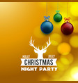 holly jolly christmas night party background vector image