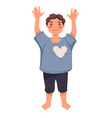 little boy or toddler standing with hands up vector image vector image