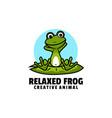 logo relaxed frog mascot cartoon style vector image