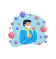 man cough and having cold vector image