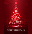 Merry christmas red snowflakes tree vector image