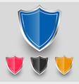 metallic badges shield symbols set design vector image
