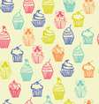 outlined colorful seamless pattern with cupcakes vector image vector image