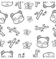 pattern panda and bamboo hand draw vector image vector image