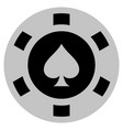 peaks suit black casino chip vector image vector image