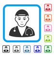 physician doctor framed happiness icon vector image vector image