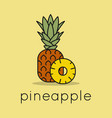 pineapple fruit logo linear pineapple slice vector image