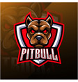 pitbull head esport mascot logo vector image vector image