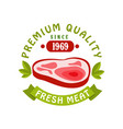 premium quality since 1969 fresh meat logo vector image vector image