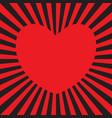 red heart radiating red rays vector image
